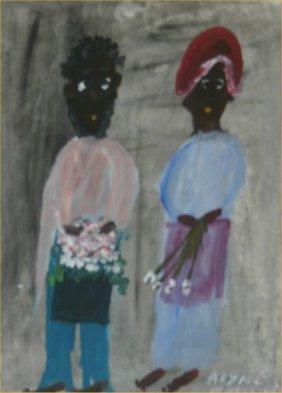 "Alyne Harris-Outsider Art-""Untitled"" Paint On Pape"