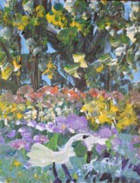 "Alyne Harris-Outsider Art-""Egret"" Acrylic On Canva"