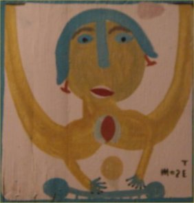 "Mose Tolliver-Outsider Art-""Untitled"" Paint On Wood"