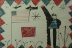 "RA Miller- Outsider Art-""Lord Love You USA"" Paint O"