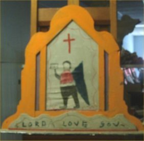 """RA Miller-Outsider Art-""""Lord Love You"""" Paint On Woo"""