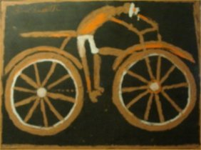 "Jimmy Lee Sudduth-Outsider Art-""Bicycle Man"" Mud On"
