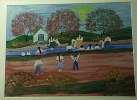 "Annie Welborne-Outsider Art-""Baptising In River"" 1"
