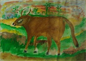 """William Dawson-Outsider Art-""""Ox"""" Paint On Paper, 9"""