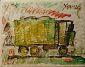 "Purvis Young-Outsider Art""Truck"" Paint On Poster"