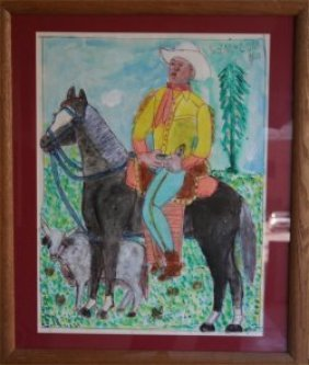 "Mc 5 Cent Jones-Outsider Art""Cowboy"" Pastel On Pap"