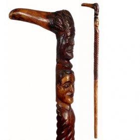 Carved Indian Chief & Man-C. 1875-1925-A Unique L Sh