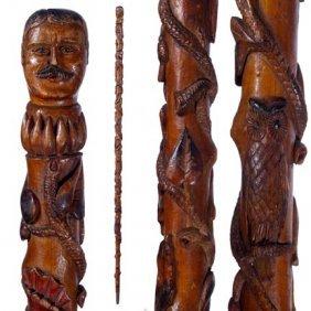 Roosevelt Folk-C. 1925-A Fully Carved Shaft With Var