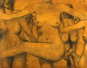"Bryan Sink-""Nudes"". Pencil On Board, Signed. Piece"
