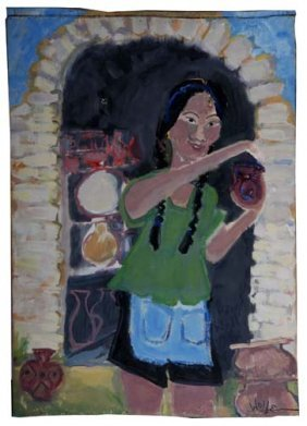 """Sabra Wolfe-""""Potter"""". Paint On Panel, Signed And Da"""