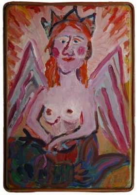 "Sabra Wolfe-""Angel"". Paint On Metal Baking Pan, Sig"