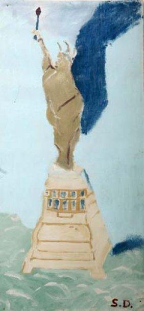 "Sam Doyle-""Statue Of Liberty"". Paint On Window Shad"