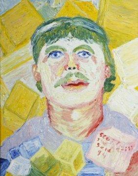 "Scotty Higgins-""The Artist Scene"". Oil On Canvas, S"