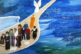 "Evelyn Gibson-""Religious Scene"" . Paint On Canvas,"