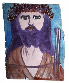 "Anderson Johnson-""Jesus"". Paint On Wood, Signed. P"