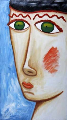 "Elwyn Hudson-""Face"". Paint On Canvas, Signed. Piec"
