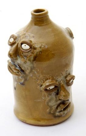 "Joel Patton, ""Four Face Jug"".  Fired And Glazed Pot"