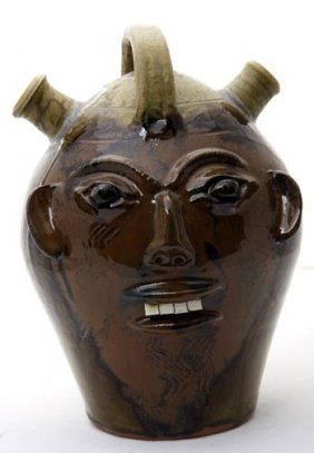 """Walter Flemming, """"face Jug""""  This Is Fired And Glaz"""
