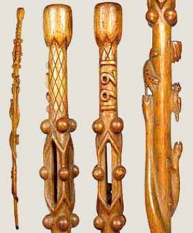 Pair Of American Folk Art Canes-Circa 1893 And 1921-