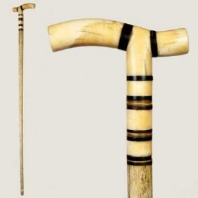Nautical Whale Bone And Ivory Cane-Circa 1875-Ivory