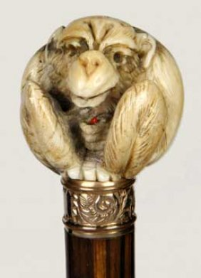 Erotic Ivory Monkey Cane-Circa 1910-A Very Nicely C