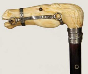 Massive Silver And Ivory Horse Cane-Dated 1848-This
