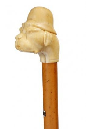 Whale Tooth Ivory Dog Cane- C. 1870- A Whale Tooth T