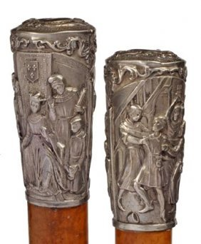 French Inquisition Silver Cane- Mid 19th Century- An