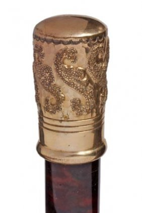 Seahorse And Tortoise Shell Cane- C. 1880- A Nice G