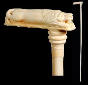 Ivory Lion Cane-Early 20th Century-A Fully Carved Ha