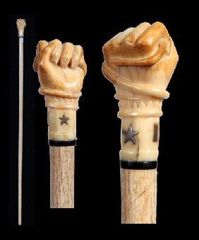 Superb Nautical Snake And Fist  Whalebone Cane-Circa