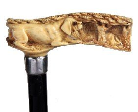 Ivory Dog And Rabbit Cane-Late 19th Century-A Relie