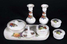 Unmarked 8 Piece Pottery Dresser Set