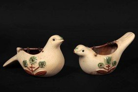 A Pair Of Bird Pottery Planters With Original Chain