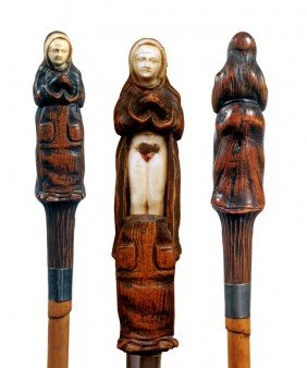 Erotic Wood And Ivory Cane-Late 19th Century-A Finel