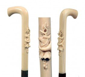 Ivory Deer Dress Cane-Late 19th Century-A Carved Ivo