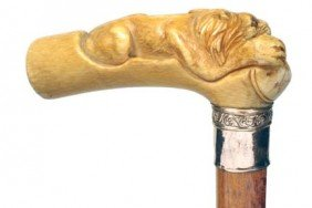 Ivory Lion Cane-Ca. 1875-A Full Figured Lion With T