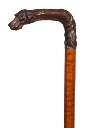 Carved Dog Cane-Circa 1880-A Very Nicely Carved Han