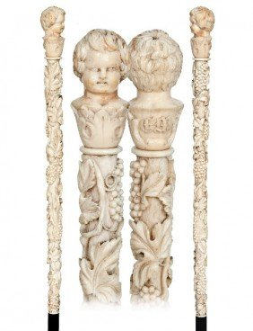 Wine Allegory Ivory French Cane-Late19th Century-A