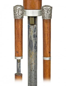 """European Silver Sword Cane-Circa 1875-A 1 �"""" Silver"""