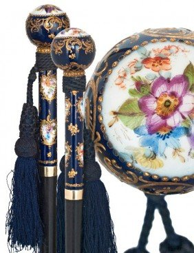 Meissen Porcelain Dress Cane-Circa 1890-Royal Cobal