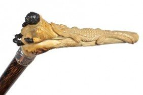 African American Stag Cane-Circa 1910-A Carved Stag