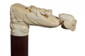 Asian Carved Ivory Cane-Circa 1900-Elephant Ivory C
