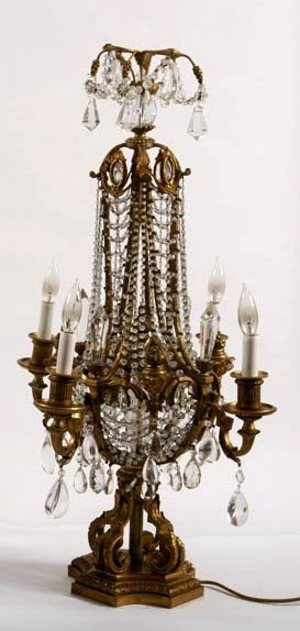 4. Crystal And Bronze Banquet Lamp-Early 20th Centur