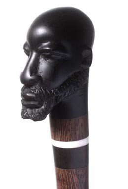 19. Exotic Carved Ebony Head Cane-Early 20th Centur