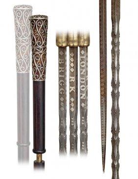 7. Brigg Sword Cane-Ca. 1890-Silver Wire Filigree Ha