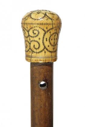 26. Ivory Pique Dress Cane-ca. 1698-a Nice Early
