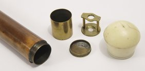 38. Ivory Microscope Cane- Ca. 1880-an Ivory Knob Which