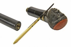 47. Beheading Cane-c. 1880- A French Carved Horn