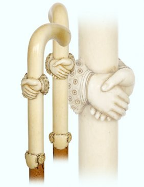 17. Ivory Day Cane-ca. 1880-substantial L-shaped Ivory